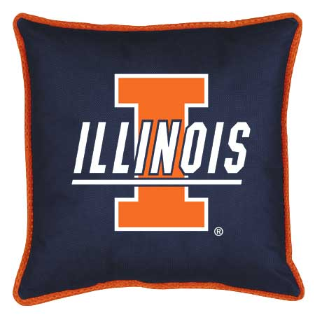 Family Bedding - Illinois Fighting Illini Toss Pillow   Sidelines Design